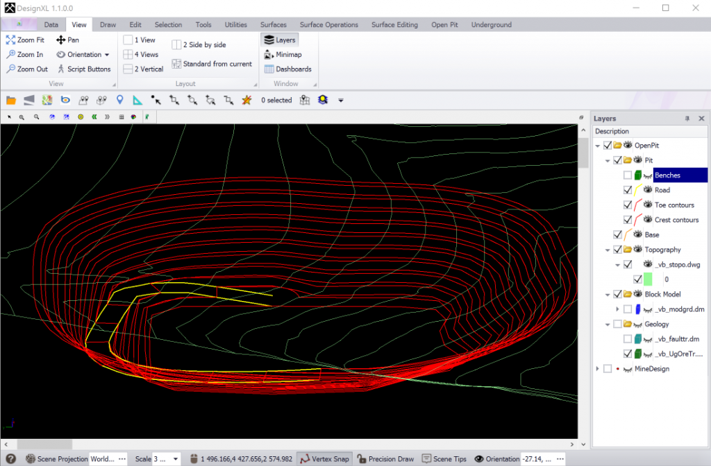 Parameterized open pit design